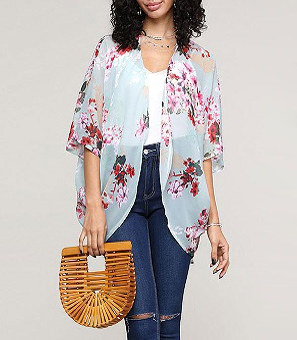 New Arrival :: Wholesale Light Floral Print Waist Length Kimono
