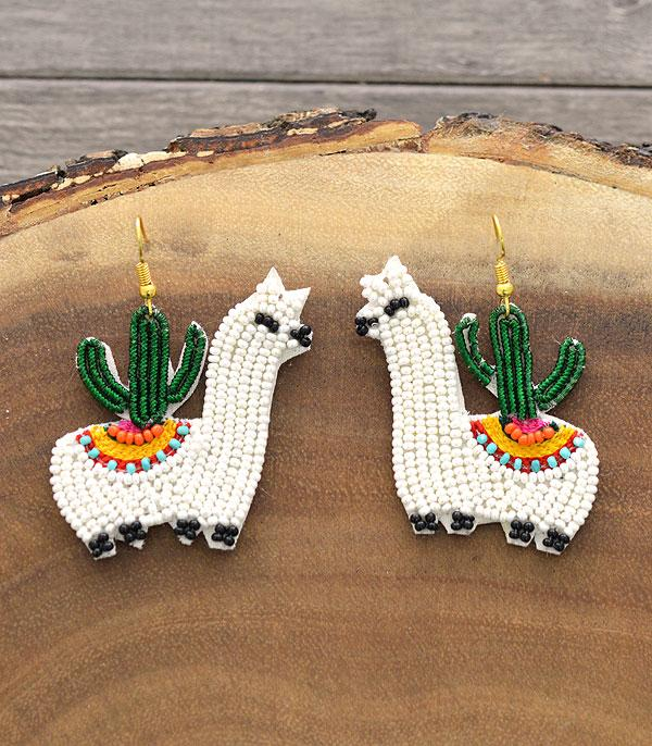 New Arrival :: Wholesale Seed Bead Alpaca Llama Earrings