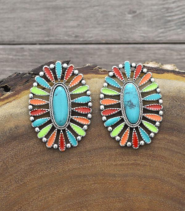 New Arrival :: Wholesale Oval Turquoise Concho Post Earrings