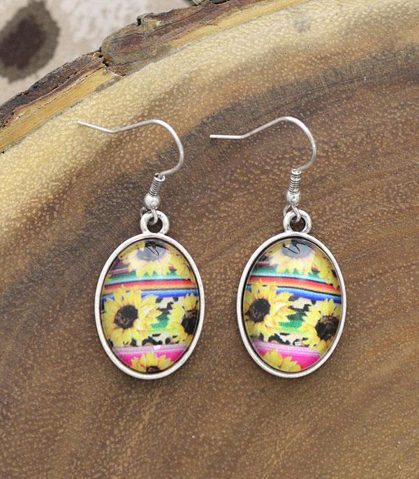 New Arrival :: Wholesale Sunflower Serape Oval Dangle Earrings