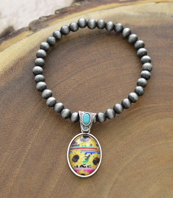 New Arrival :: Wholesale Sunflower Charm Navajo Pearl Bracelet