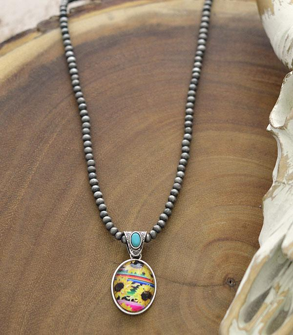 New Arrival :: Wholesale Sunflower Pendant Navajo Pearl Necklace
