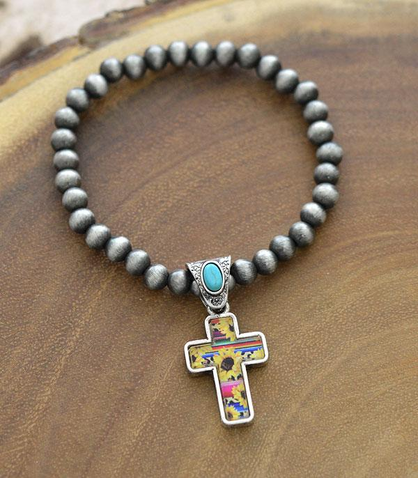 New Arrival :: Wholesale Sunflower Cross Charm Navajo Bracelet