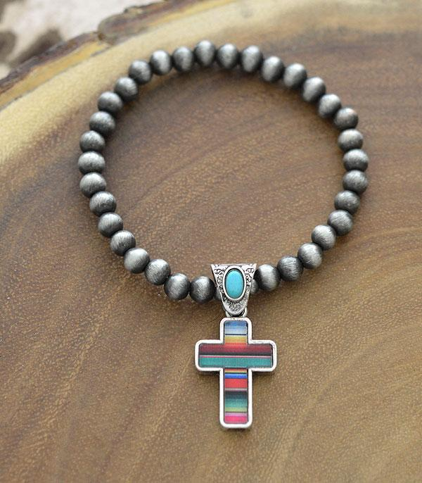 New Arrival :: Wholesale Serape Cross Charm Navajo Bracelet