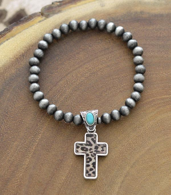 New Arrival :: Wholesale Leopard Cross Charm Navajo Bracelet