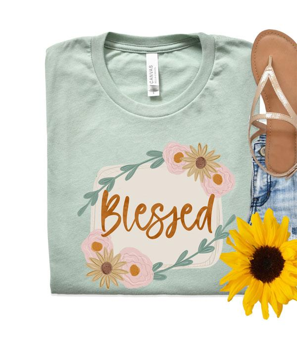 New Arrival :: Wholesale Floral Blessed Vintage Short Sleeve Tee