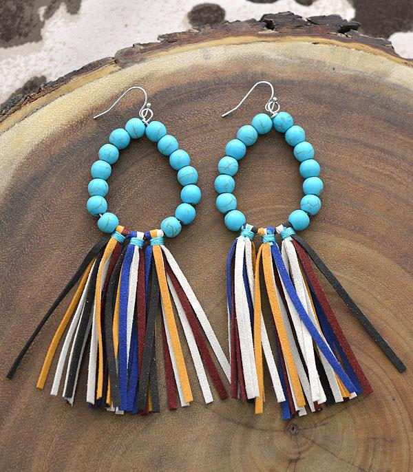 New Arrival :: Wholesale Turquoise Teardrop Tassel Earrings