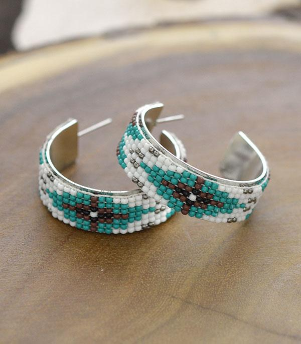 New Arrival :: Wholesale Seed Bead Navajo Hoop Earrings