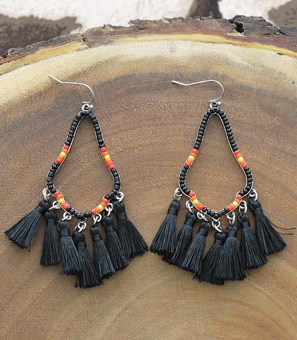 New Arrival :: Wholesale Western Navajo Seed Bead Tassel Earrings
