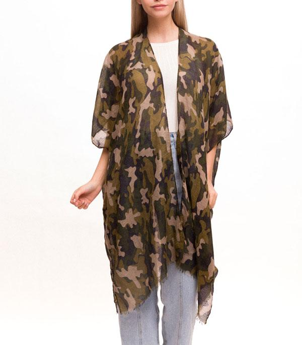 New Arrival :: Wholesale Camo Print Light Weight Womens Kimono