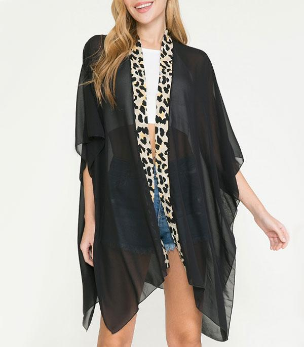 New Arrival :: Wholesale Leopard Trim Light Weight Kimono