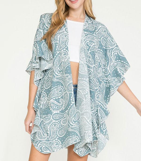 New Arrival :: Wholesale Blue Sage Paisley Ruffled Kimono