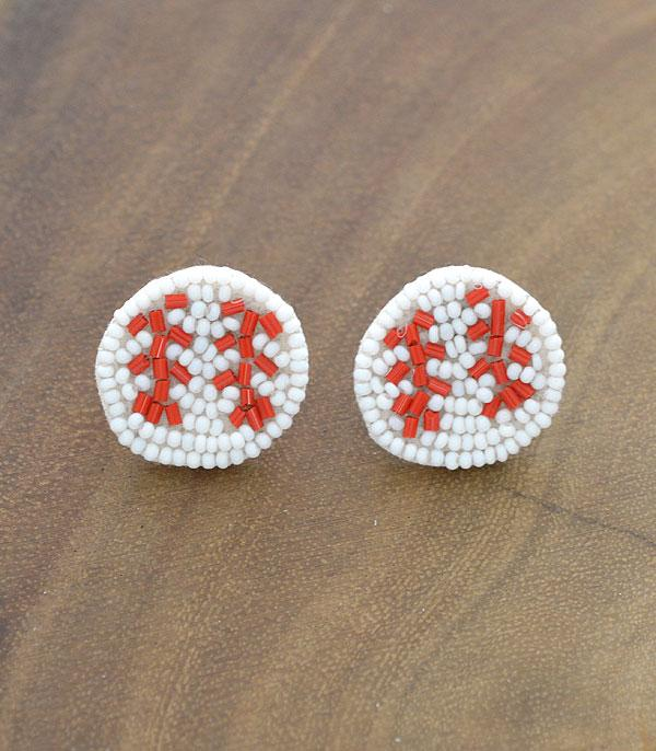 New Arrival :: Wholesale Seed Beaded Baseball Post Earrings
