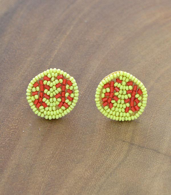 New Arrival :: Wholesale Seed Beaded Softball Post Earrings