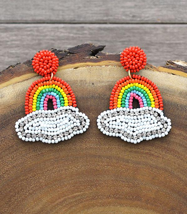 New Arrival :: Wholesale Seed Beaded Rainbow Post Earrings