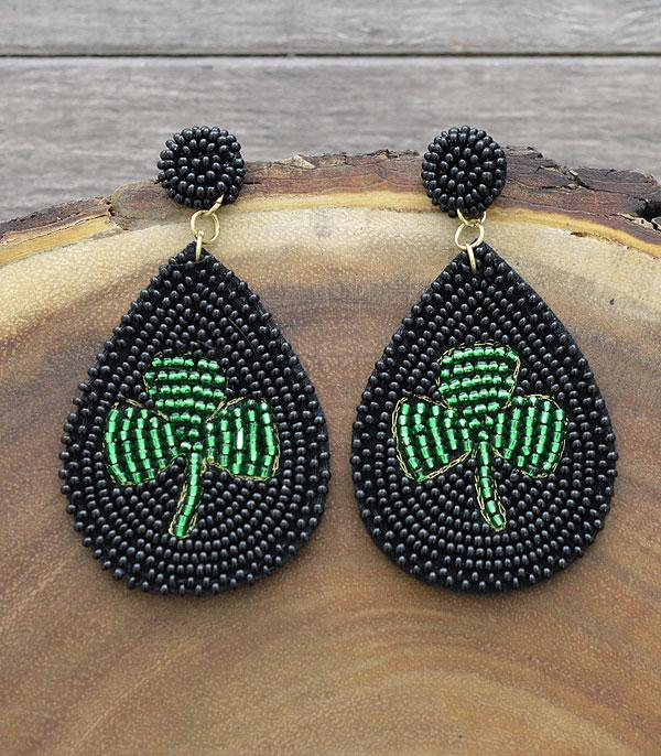 New Arrival :: Wholesale Clover Beaded Teardrop Earrings
