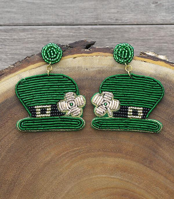New Arrival :: Wholesale Seed Beaded St Patricks Earrings