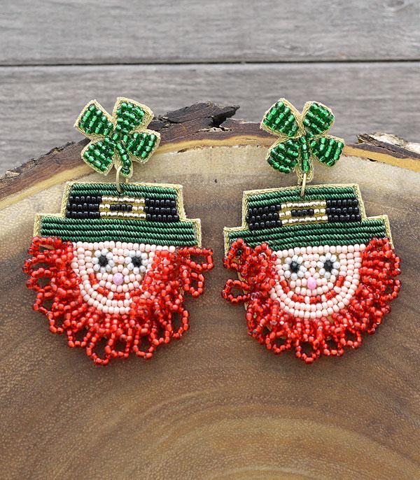 New Arrival :: Wholesale St Patricks Seed Beaded Earrings