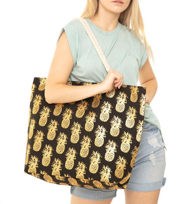 New Arrival :: Wholesale Gold Foil Pineapple Print Tote