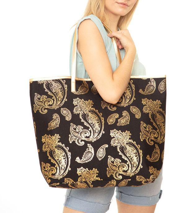 New Arrival :: Wholesale Gold Foil Paisley Print Tote Bag