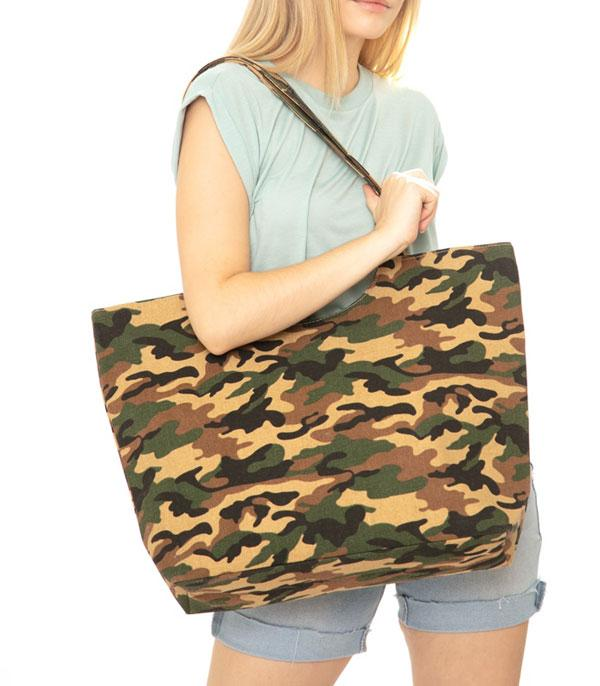 New Arrival :: Wholesale Camo Print Canvas Tote Bag
