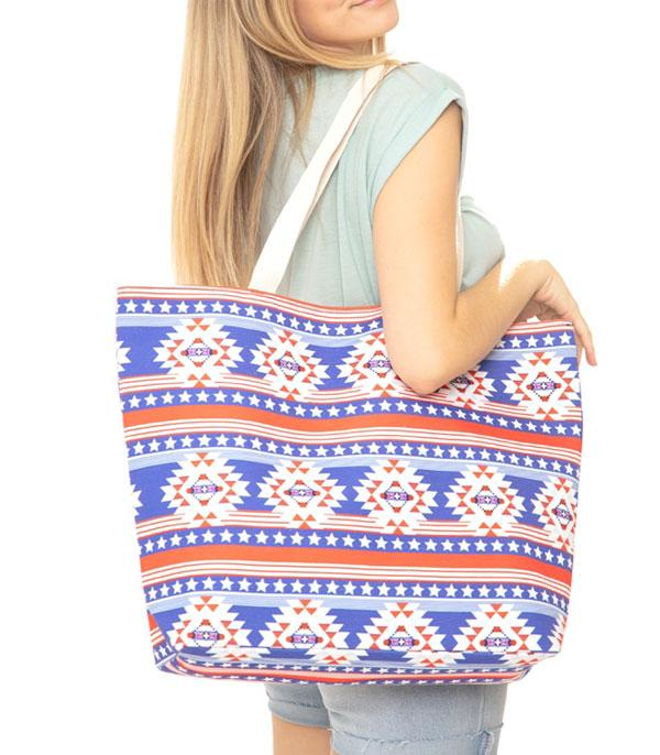 New Arrival :: Wholesale Patriotic Aztec Print Canvas Tote