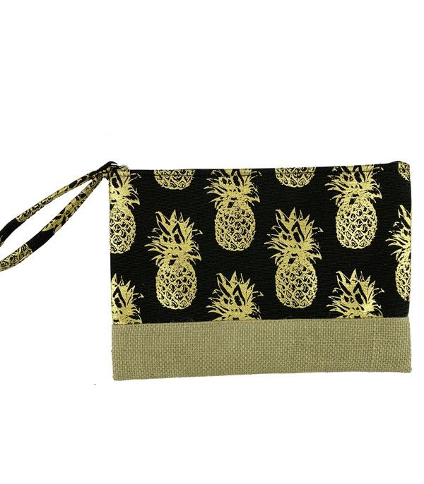 New Arrival :: Wholesale Gold Foil Pineapple Print Pouch Bag