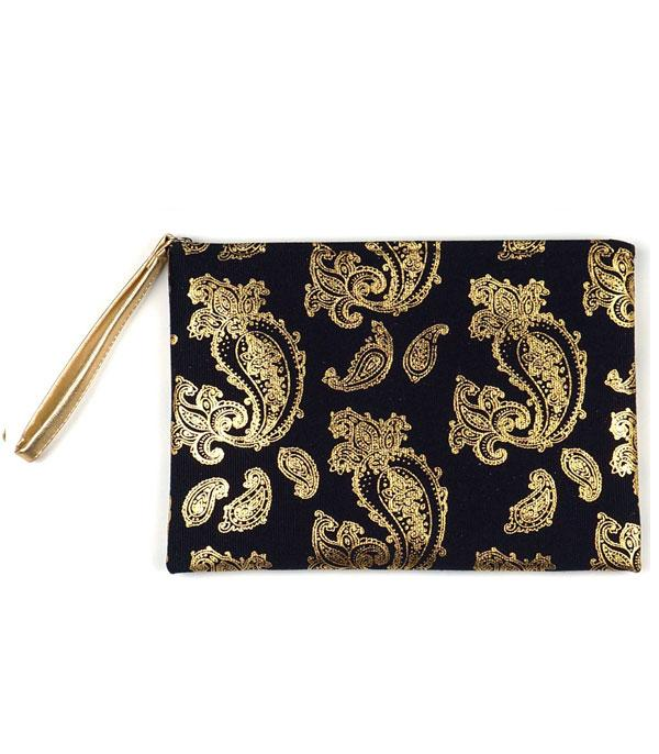 New Arrival :: Wholesale Gold Foil Paisley Print Pouch Bag