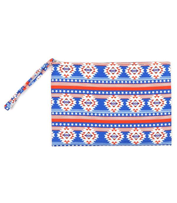 New Arrival :: Wholesale Star Stripes Patriotic Aztec Pouch Bag