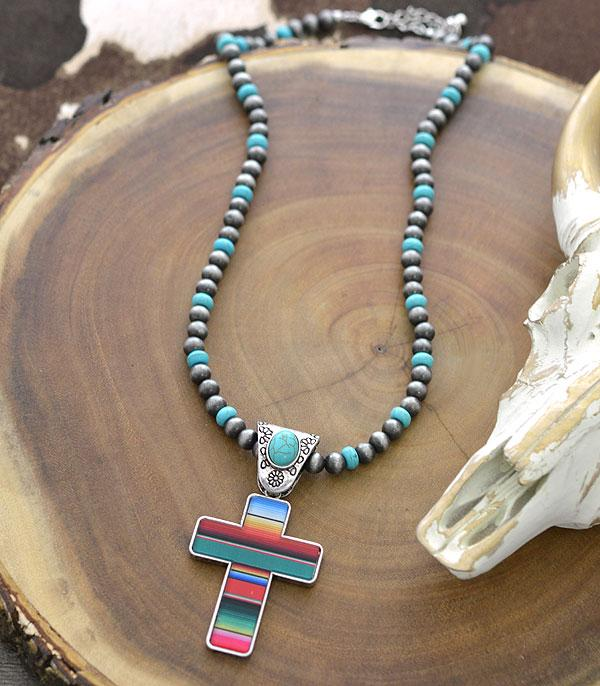 New Arrival :: Wholesale Western Navajo Pearl Bead Cross Necklace