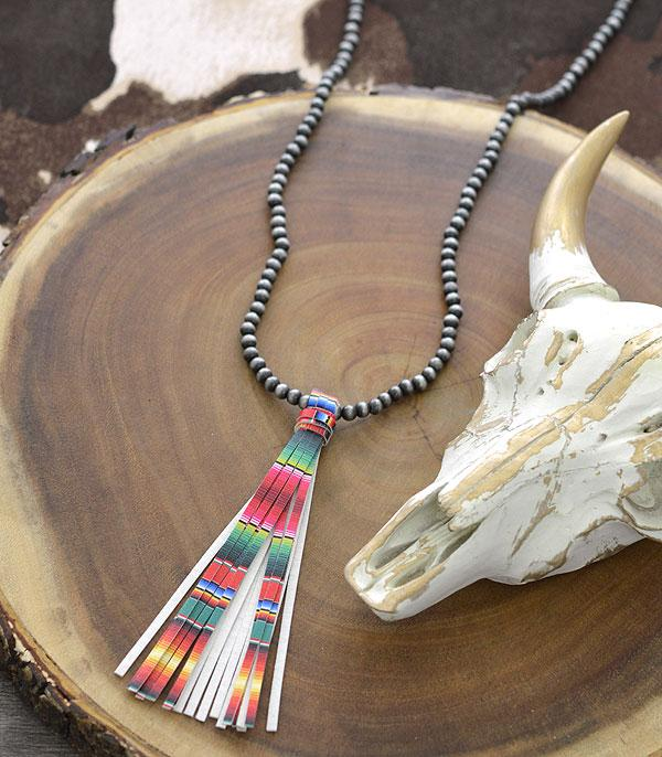 New Arrival :: Wholesale Navajo Pearl Bead Tassel Necklace