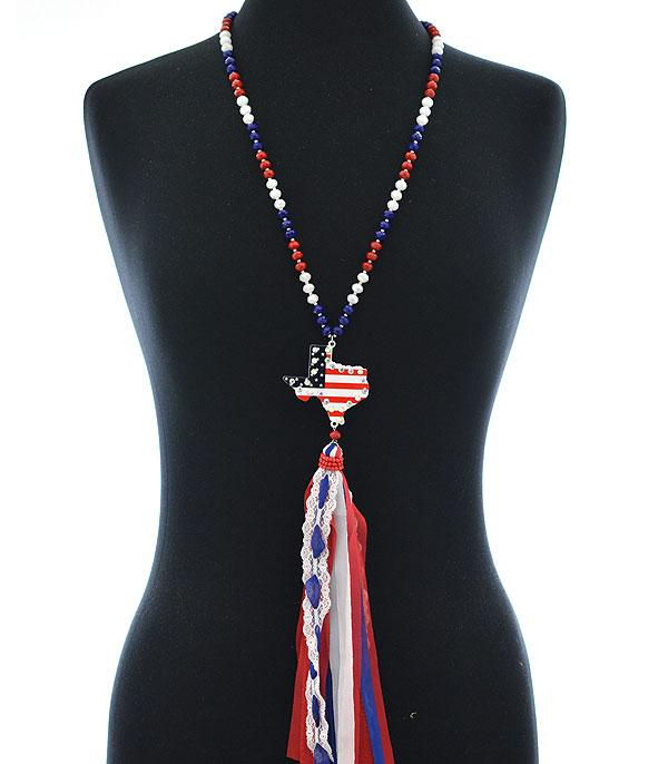 New Arrival :: Wholesale Patriotic Texas Map Tassel Necklace