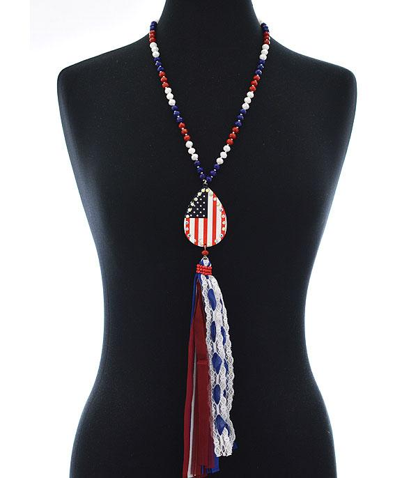 New Arrival :: Wholesale USA Flag Teardrop Tassel Necklace