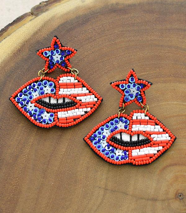 New Arrival :: Wholesale USA Flag Seed Beaded Earrings