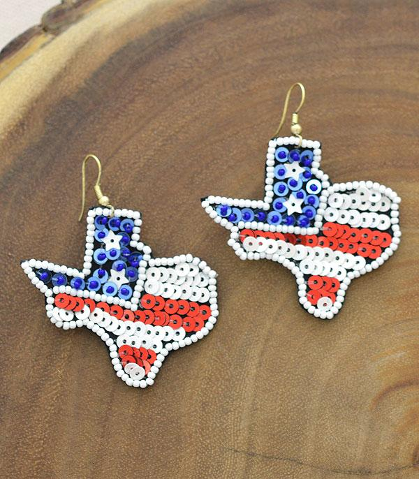 New Arrival :: Wholesale USA Flag Texas Map Earrings