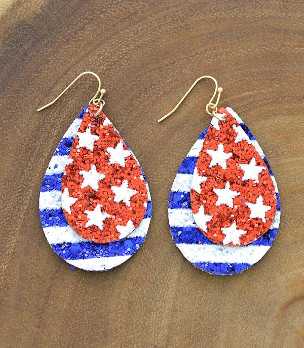 New Arrival :: Wholesale Star Stripes Patriotic Teardrop Earrings