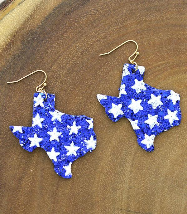 New Arrival :: Wholesale Patriotic Star Texas Map Earrings