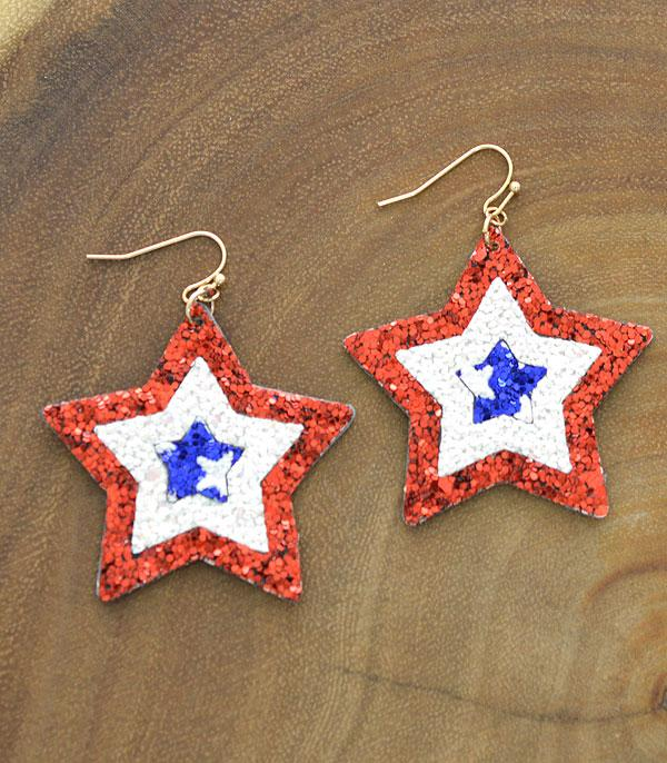 New Arrival :: Wholesale Patriotic Star Glitter Earrings