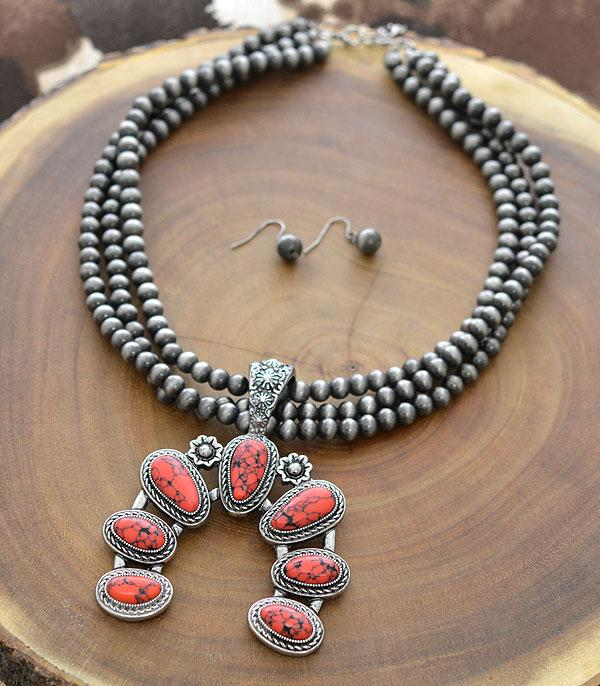 New Arrival :: Wholesale Western Squash Blossom Stone Necklace Se