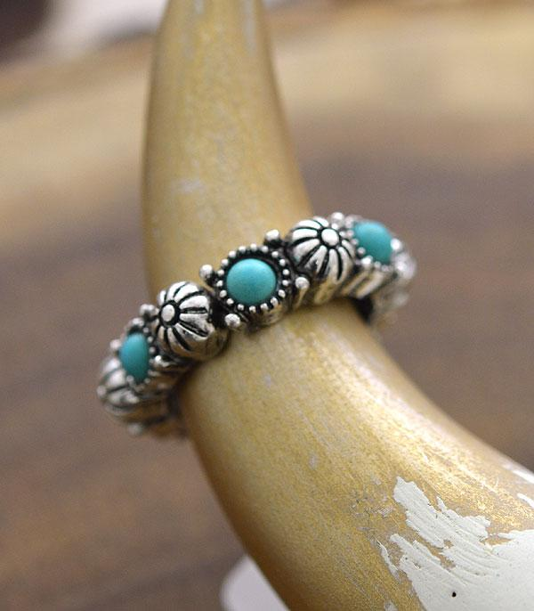 New Arrival :: Wholesale Western Turquoise Stretch Ring