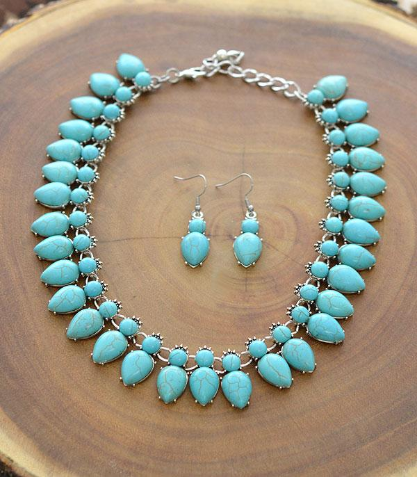 New Arrival :: Wholesale Turquoise Stone Necklace Set