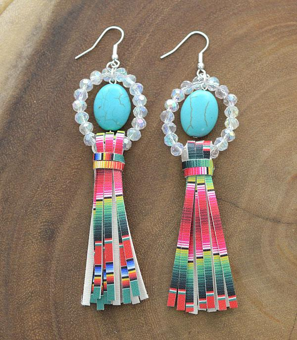 New Arrival :: Wholesale Turquoise Bead Serape Tassel Earrings