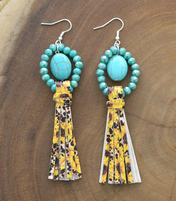 New Arrival :: Wholesale Turquoise Bead Sunflower Tassel Earrings
