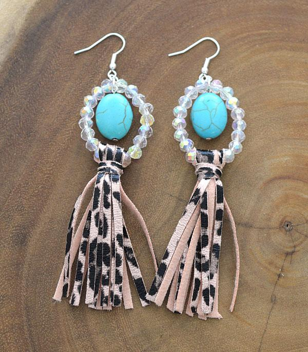 New Arrival :: Wholesale Turquoise Bead Leopard Tassel Earrings