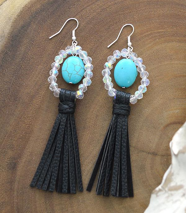 New Arrival :: Wholesale Turquoise Bead Tassel Earrings