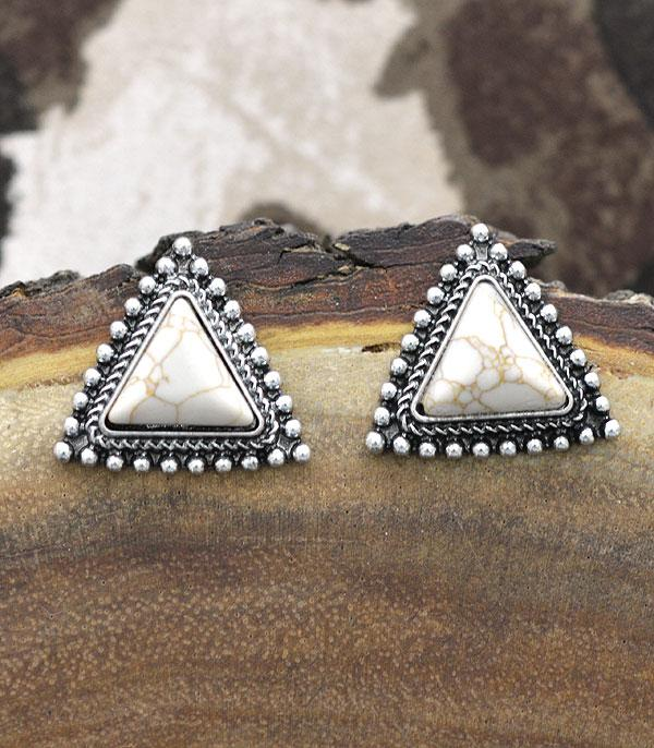 New Arrival :: Wholesale Turquoise Triangle Post Back Earrings