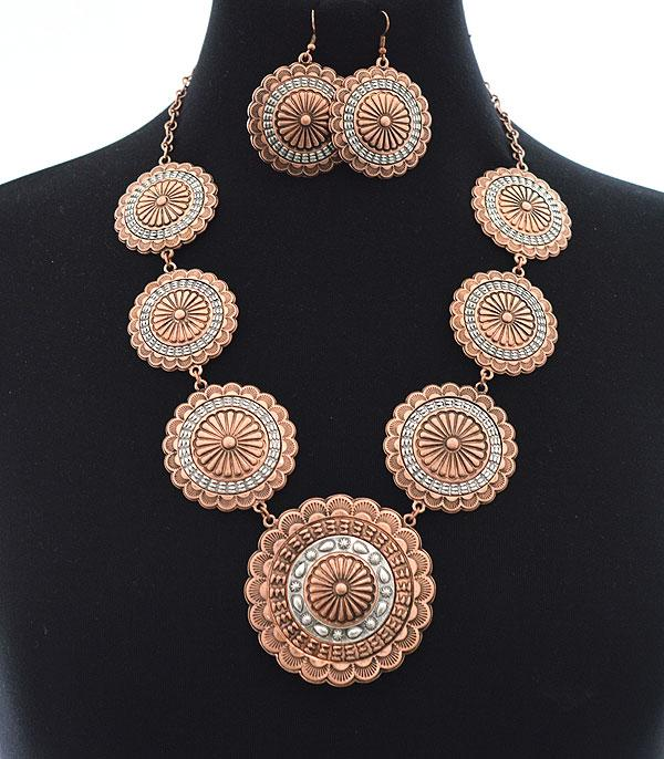 New Arrival :: Wholesale Western Concho Necklace Set