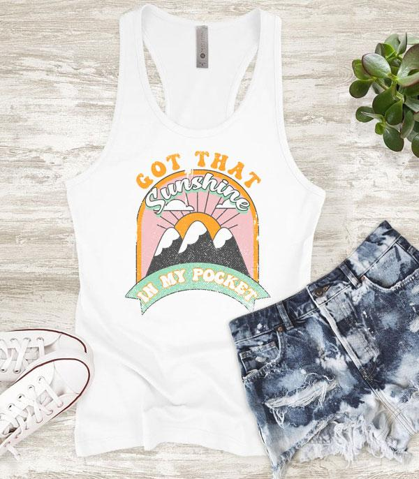 New Arrival :: Wholesale Vintage Sunshine In My Pocket Tank