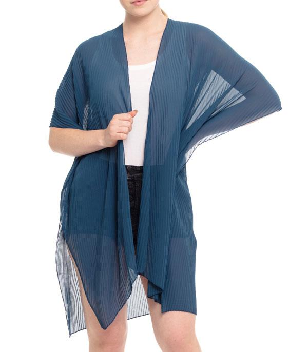 New Arrival :: Wholesale Solid Color Pleated Kimono