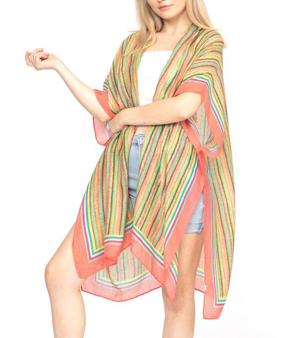 New Arrival :: Wholesale Multi Color Stripe Light Kimono